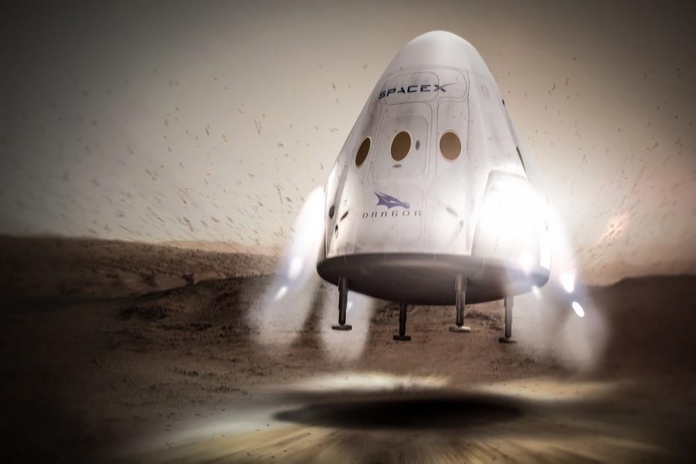 Representación artística de la capsula Dragon V2 en Marte.