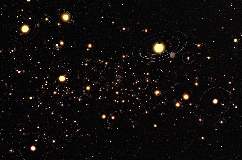 Representación artística del European Southern Observatory sobre los nuevos sistemas de planetas.