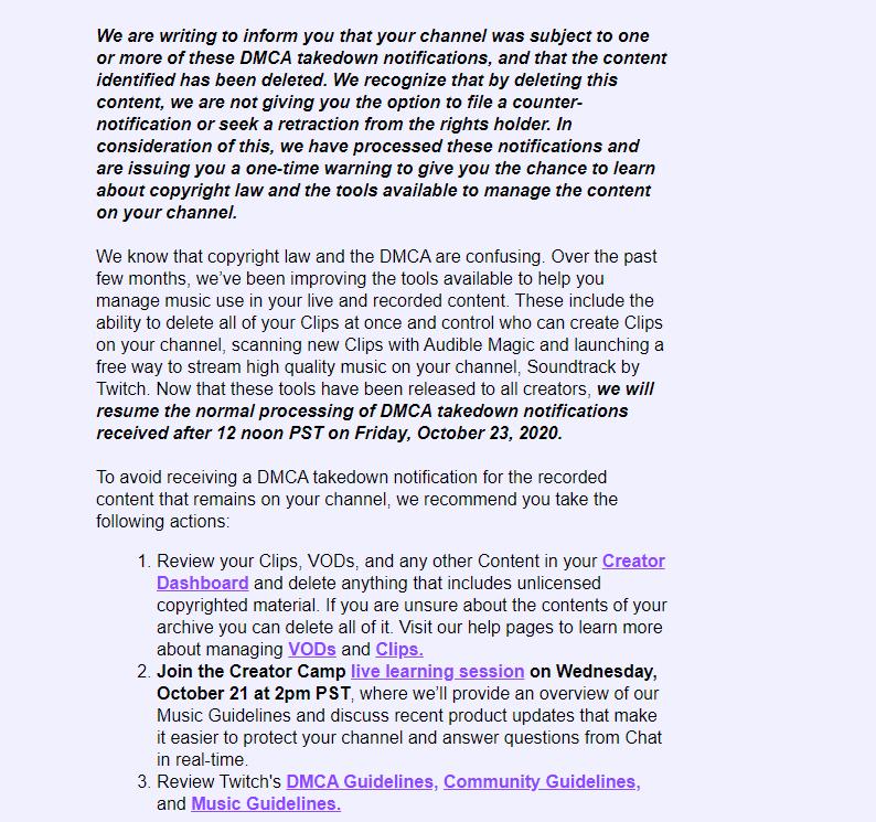 Mail de twitch para sus usuarios DMCA.